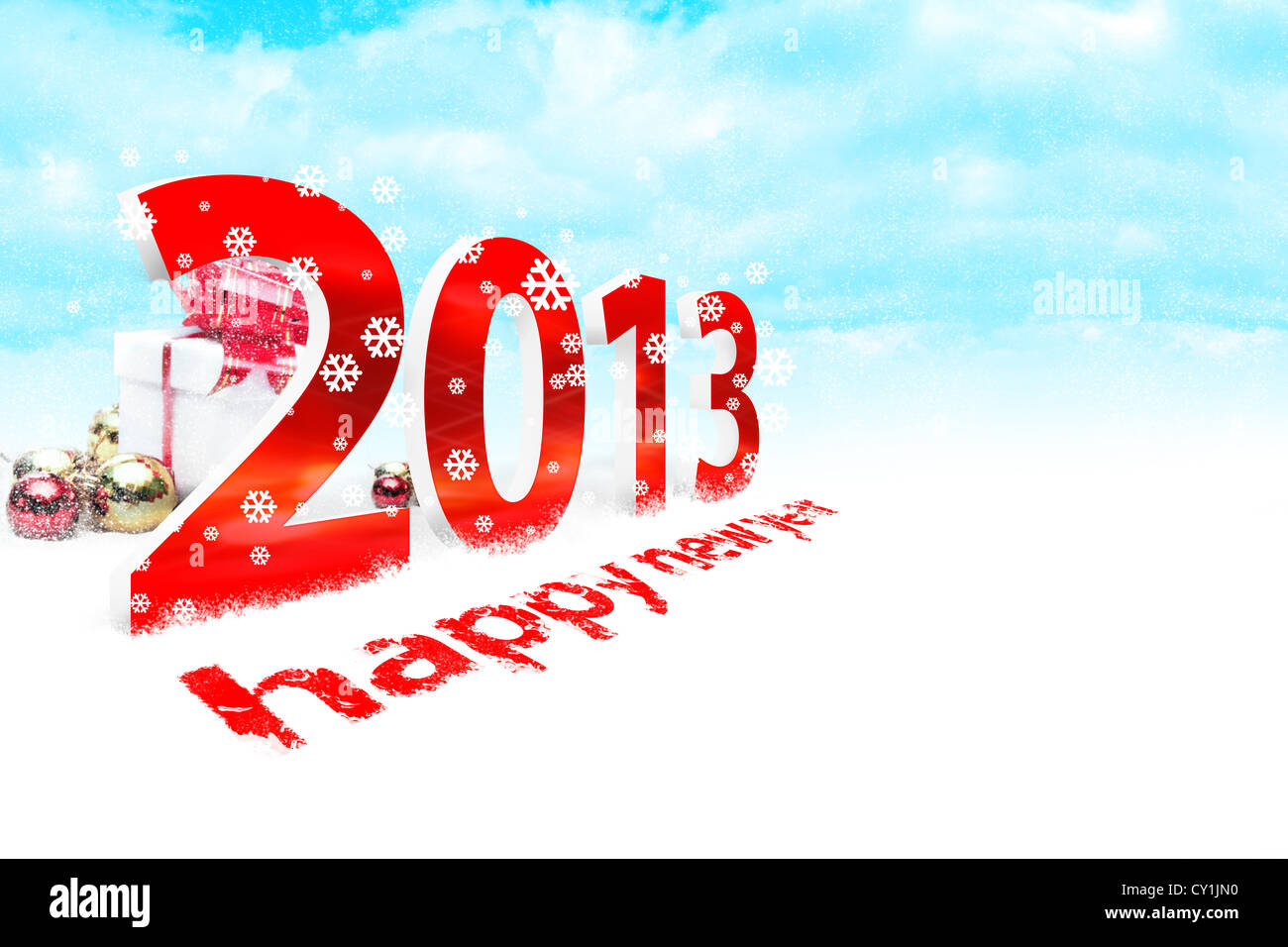 Illustration of the new year 2013 with snow - Stock Image