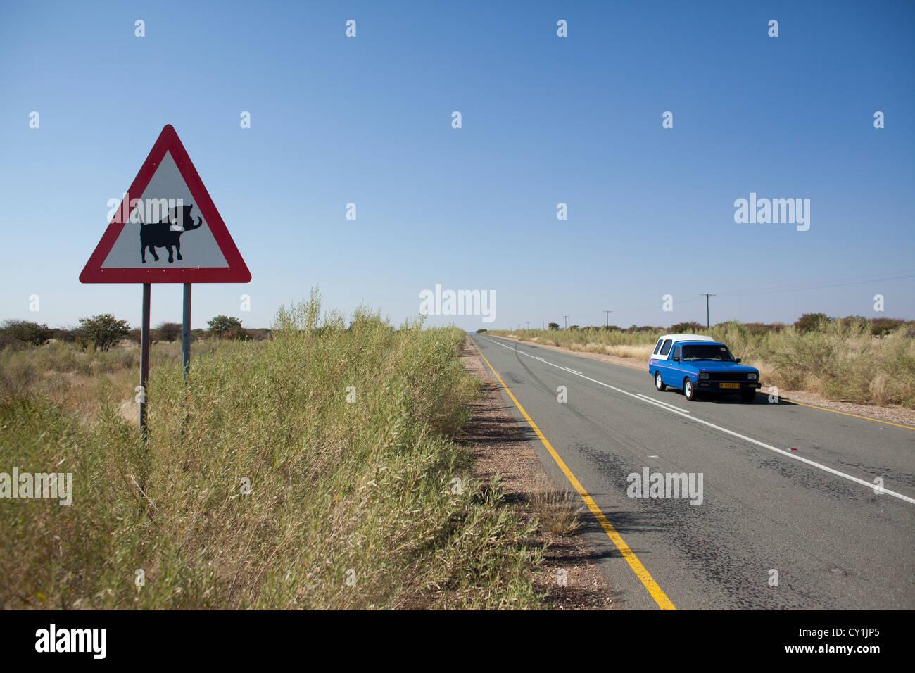 road north of windhoek, namibia - Stock Image