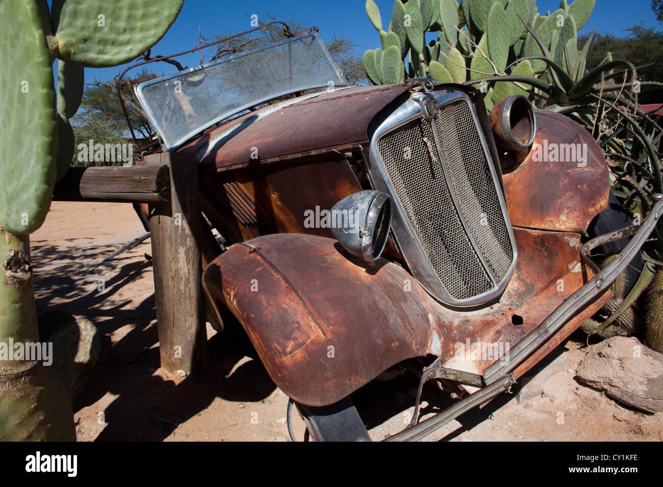 old car wreckage at solitair, namibia - Stock Image