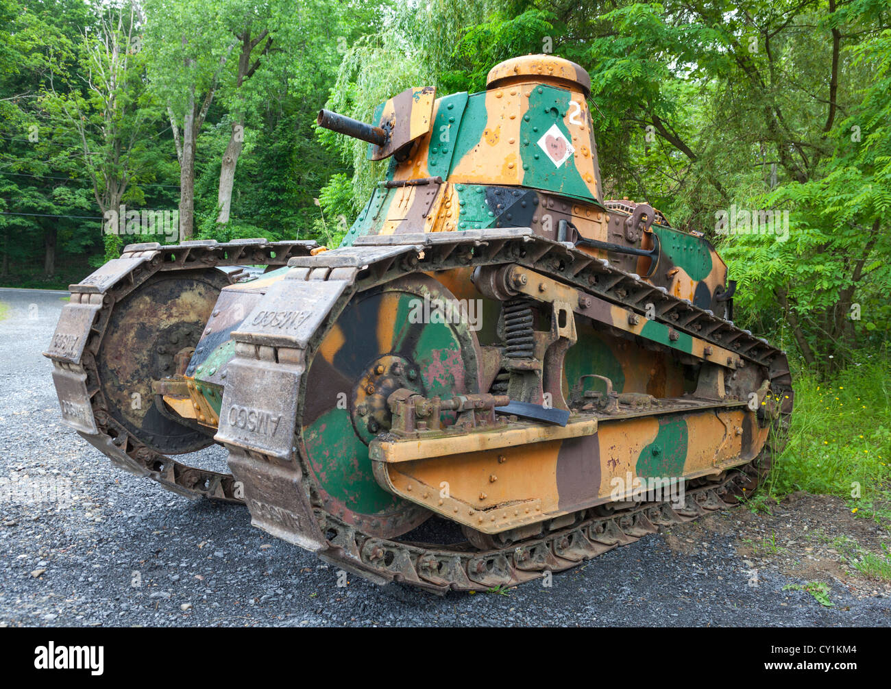 A close view of a Renault FT-17 World War I tank. - Stock Image