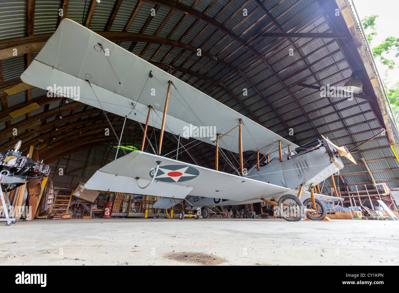 U.S. Navy antique biplane. - Stock Image
