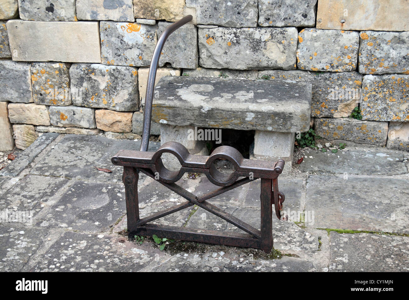 A set of iron spectacle stocks in Painswick, Gloucestershire, UK. - Stock Image