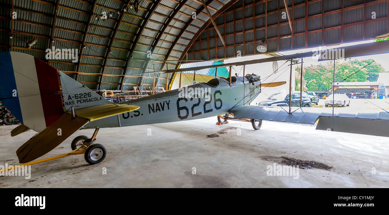 U.S. Navy antique biplane. - Stock Image