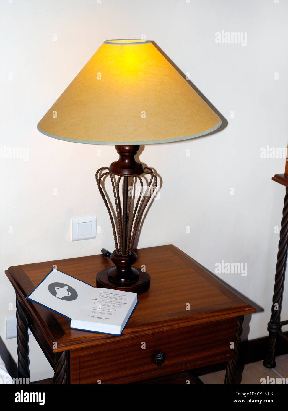 Balaclava Mauritius Hotel Maritim Gideon Bible and Lamp in Bedroom Stock Photo