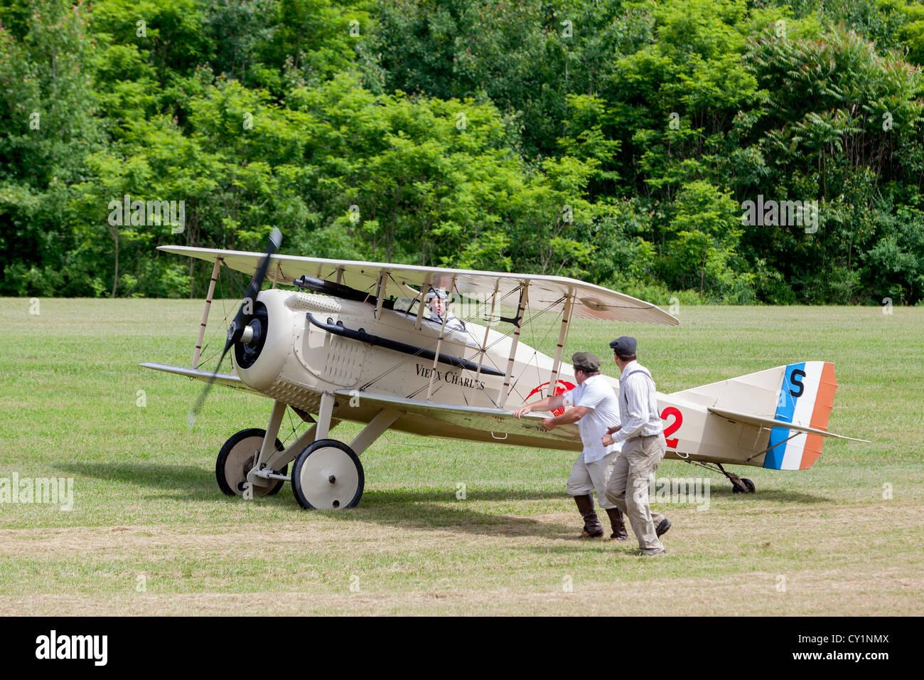 SPAD VII antique biplane. - Stock Image