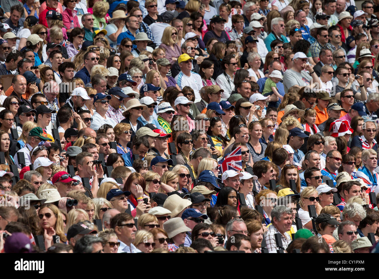 British fans watching athletics at the Olympic Summer Games, London 2012 - Stock Image