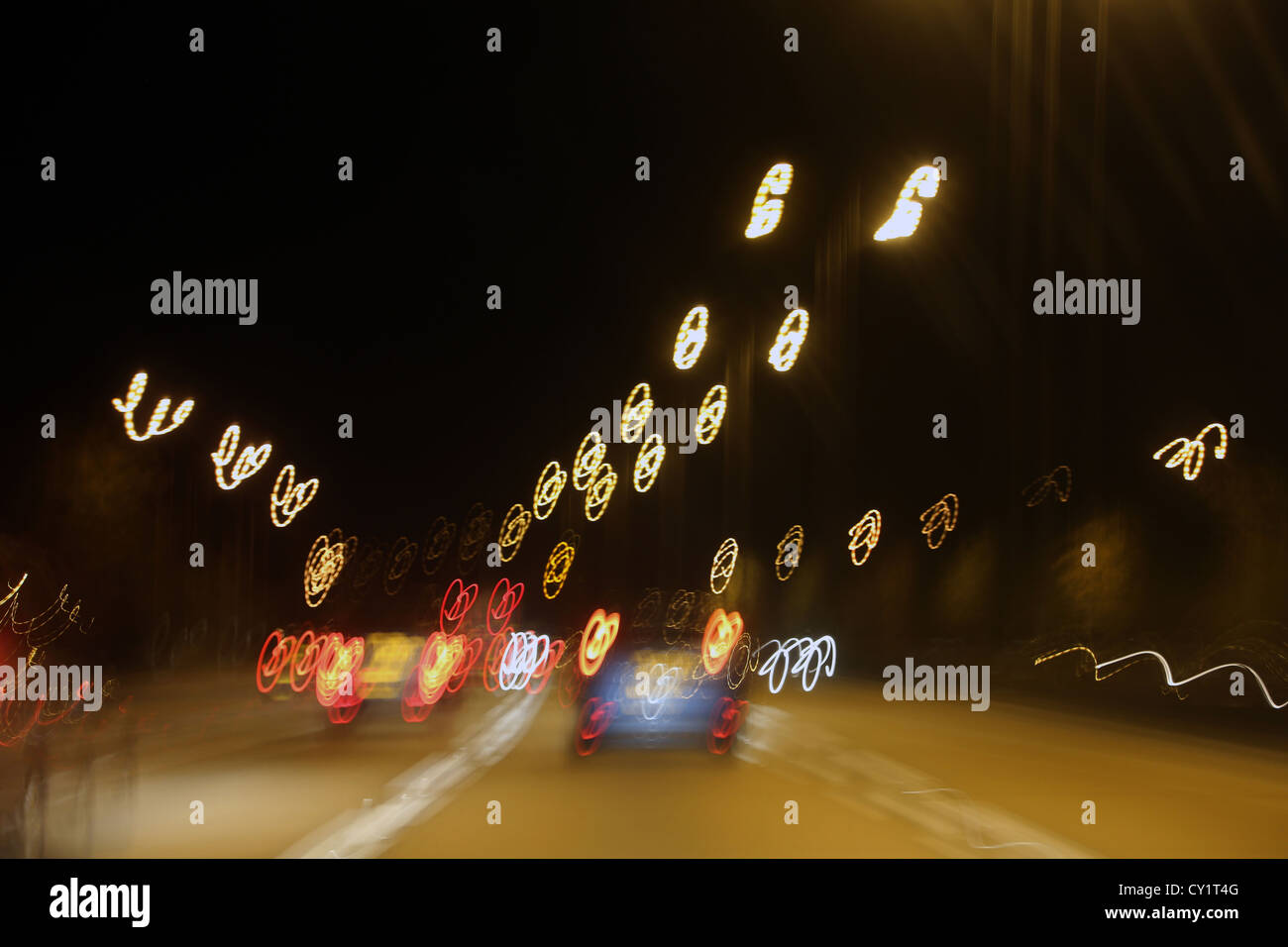 Abstract Lights Motorway At Night England - Stock Image