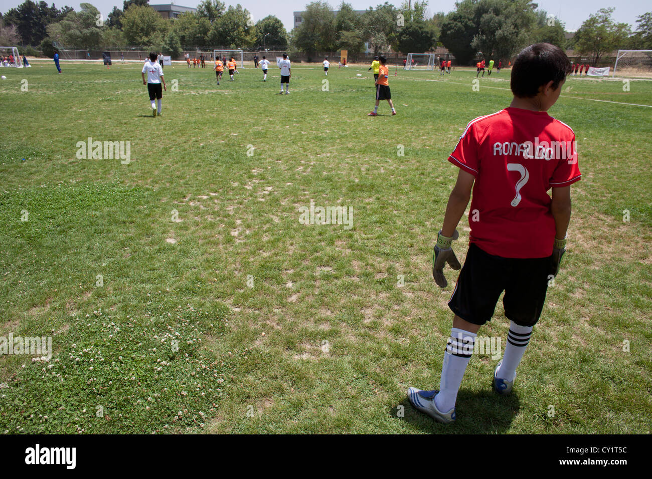 afghans child boys football player tournament boy - Stock Image