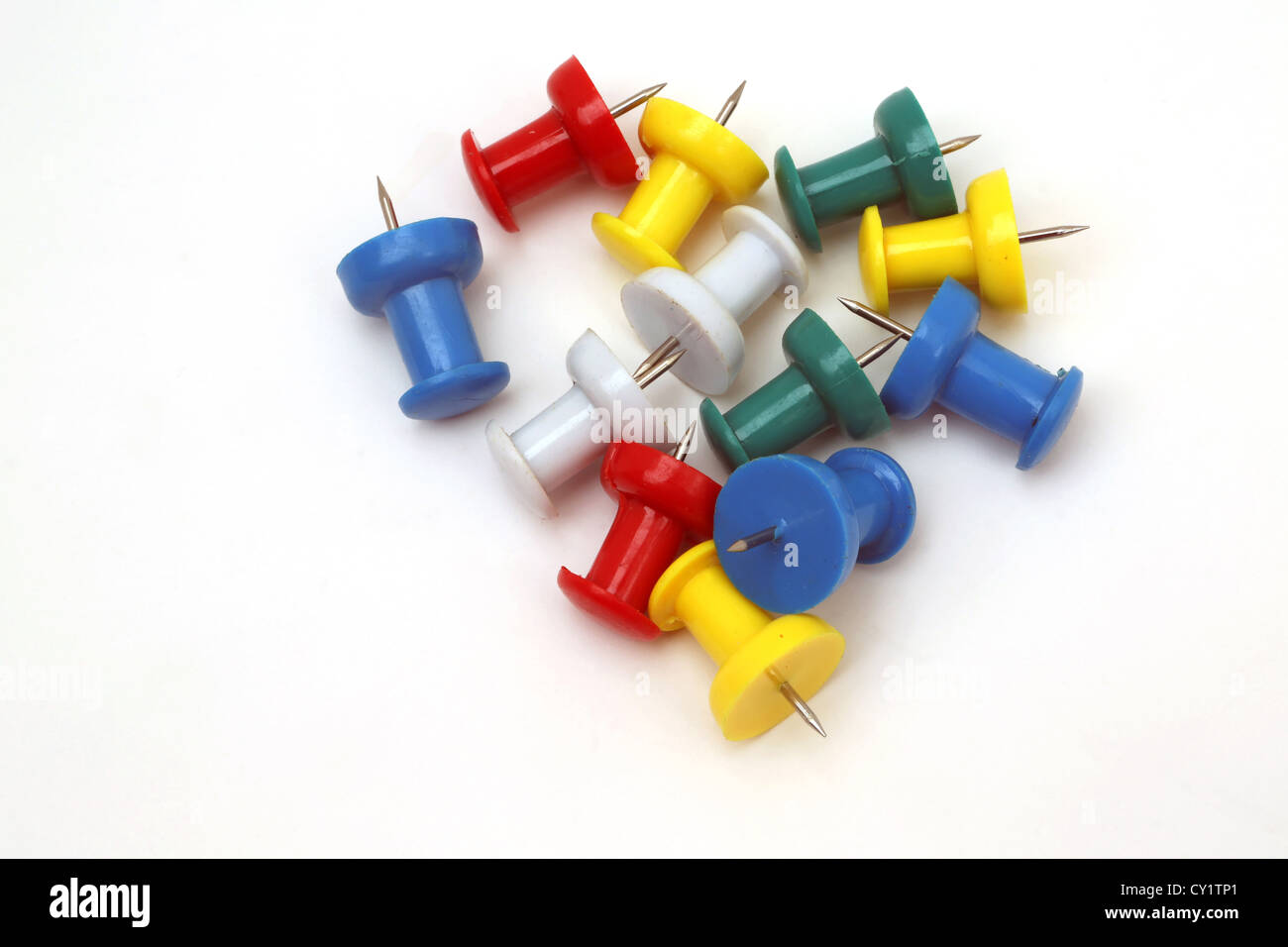 Pile Of Colourful Push Pins - Stock Image