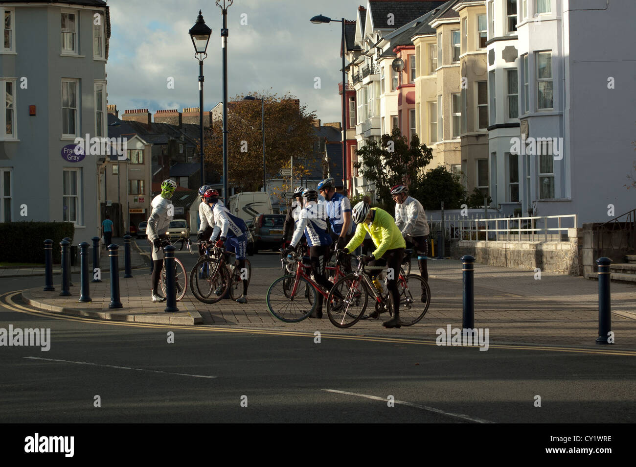 Group of cyclists preparing to go for a ride. - Stock Image