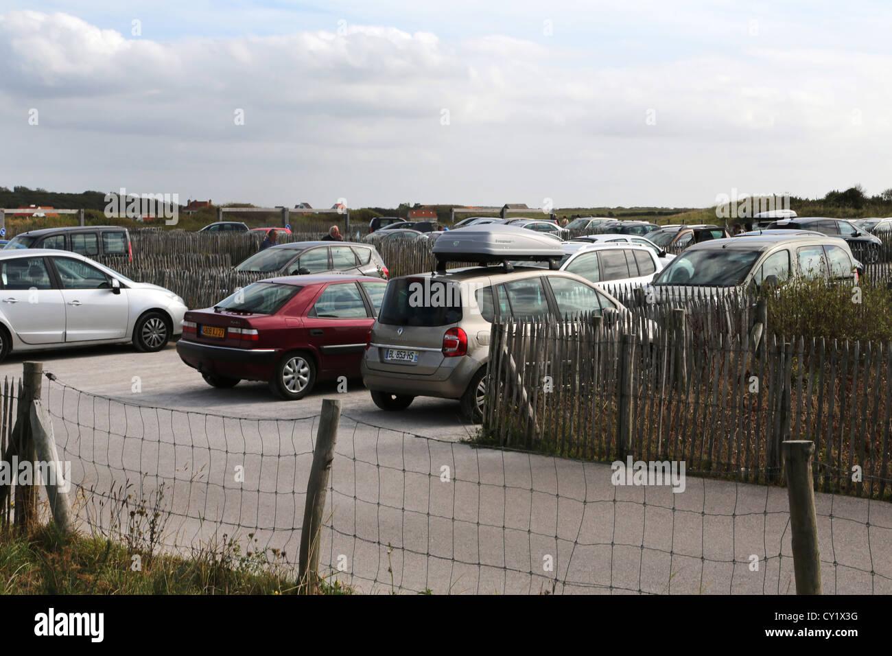 Cap Gris Nez Cote d'opale Pas de Calais France Cars In Car Park - Stock Image
