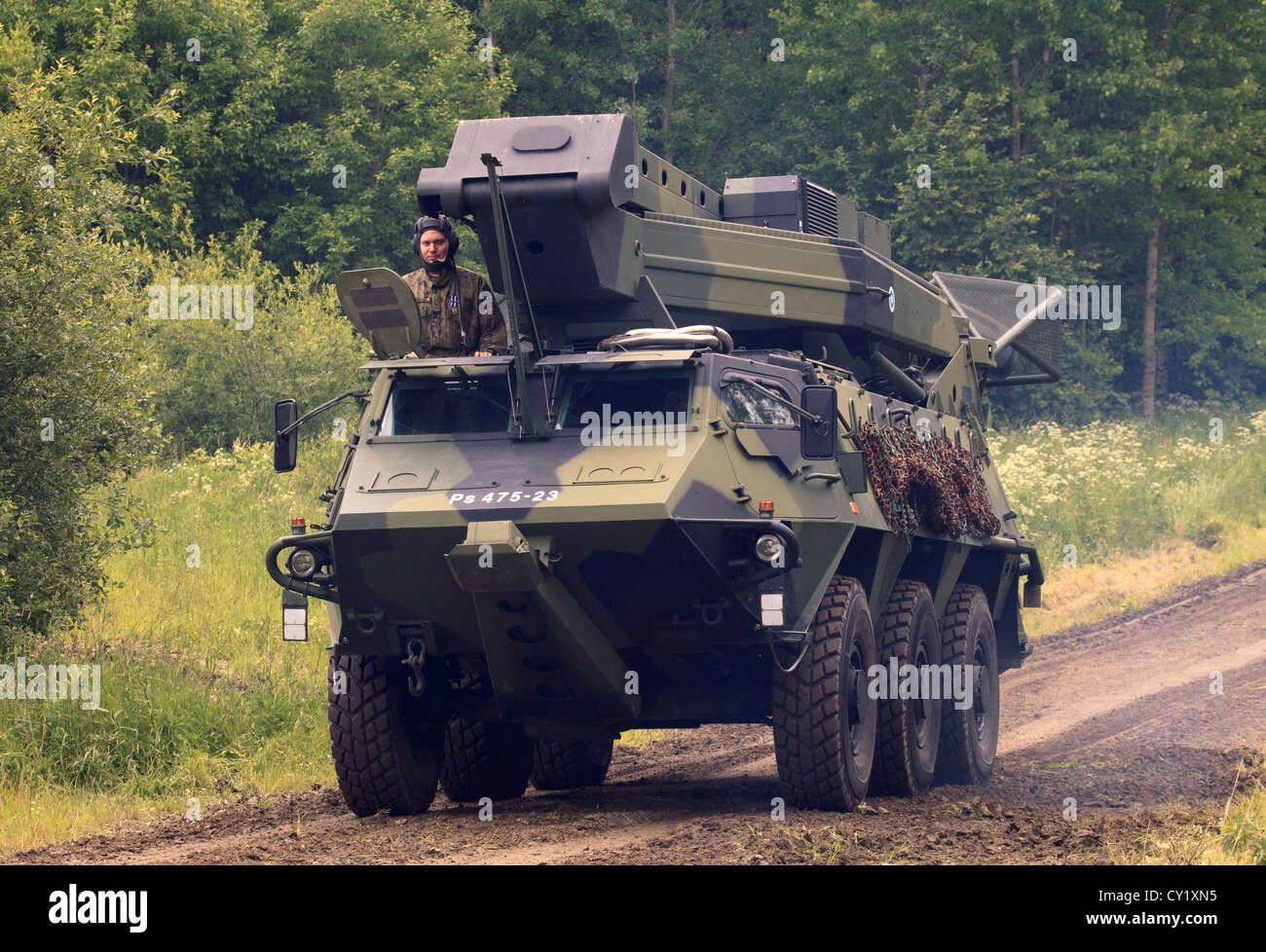 Air defence radar mounted on a Sisu XA-182 APC of the Finnish Army. - Stock Image