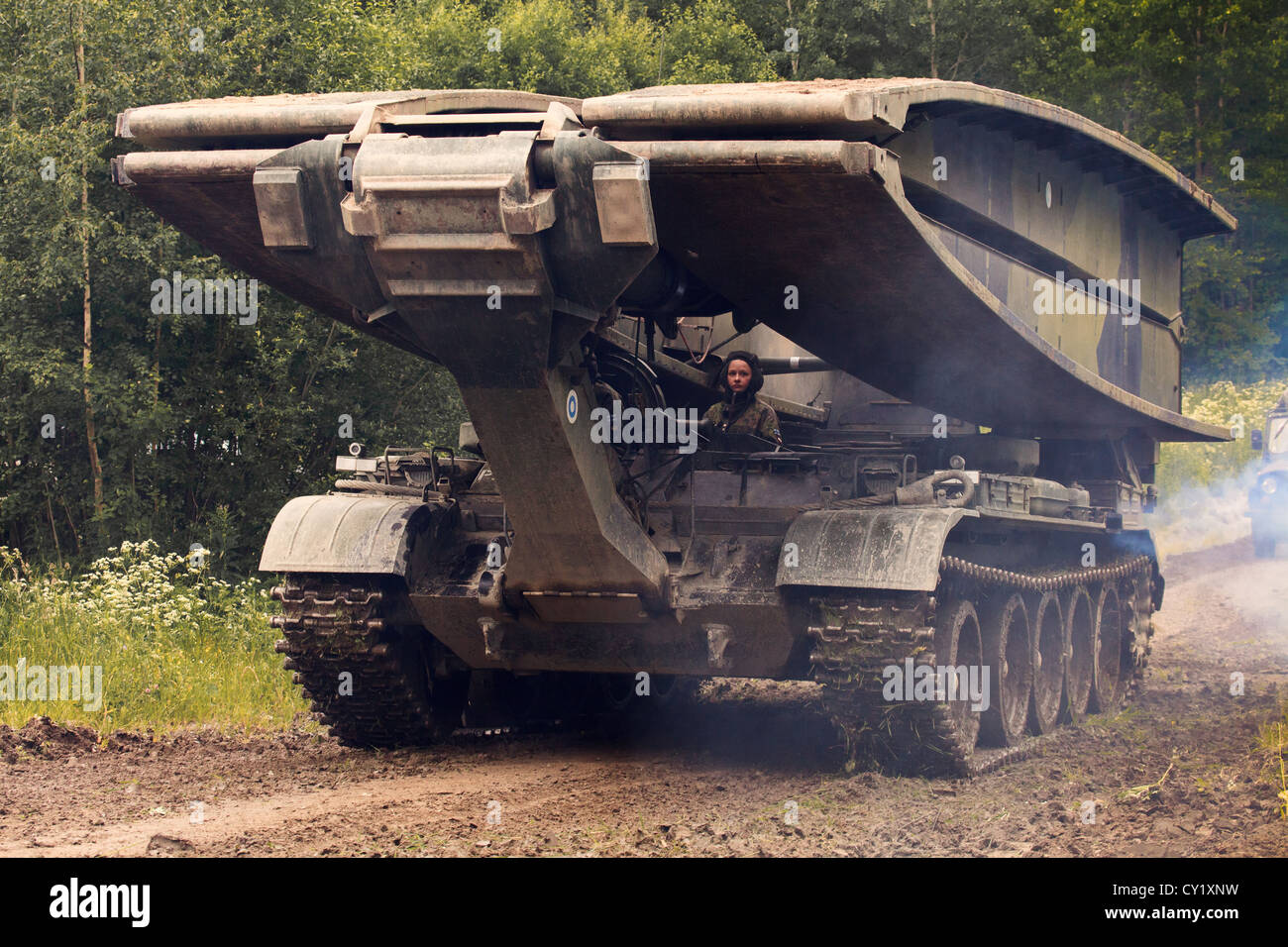 MT-55A armored bridgelayer of the Finnish Army. - Stock Image