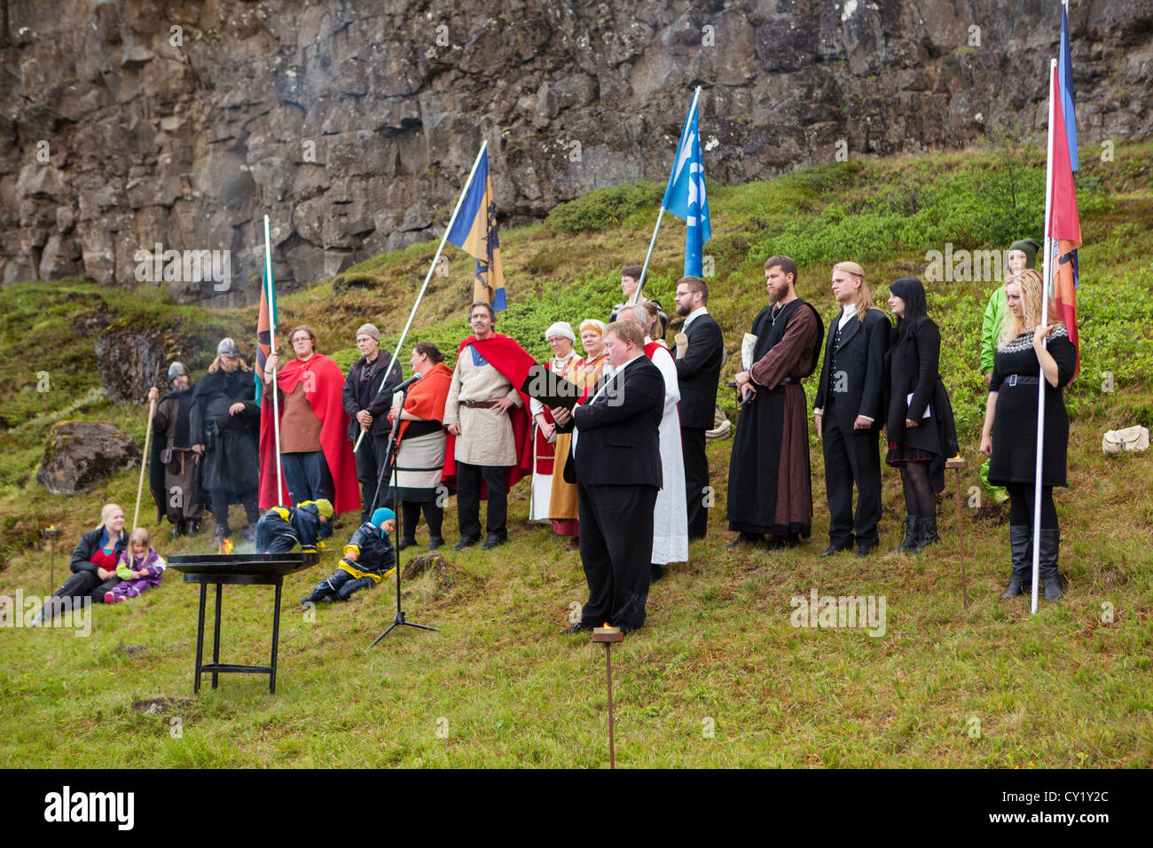 Believers in Odin, Thor and the other old Norse gods, gather at Thingvellir in Iceland in June 2012. - Stock Image