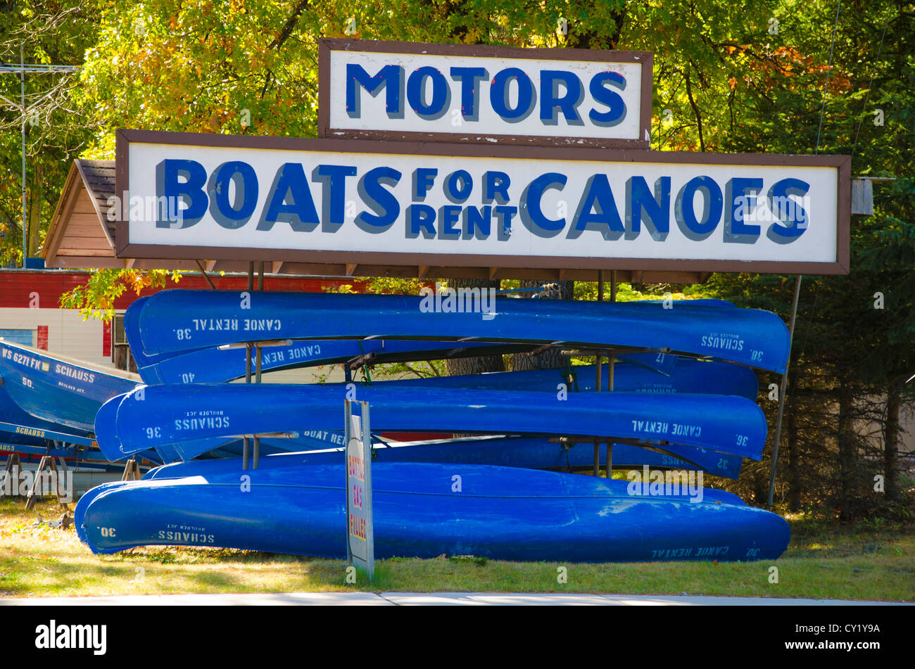 Schauss Woodwork Shop in Boulder Junction, Wisconsin, a town well-known for its fishing, offers boats for rent. - Stock Image