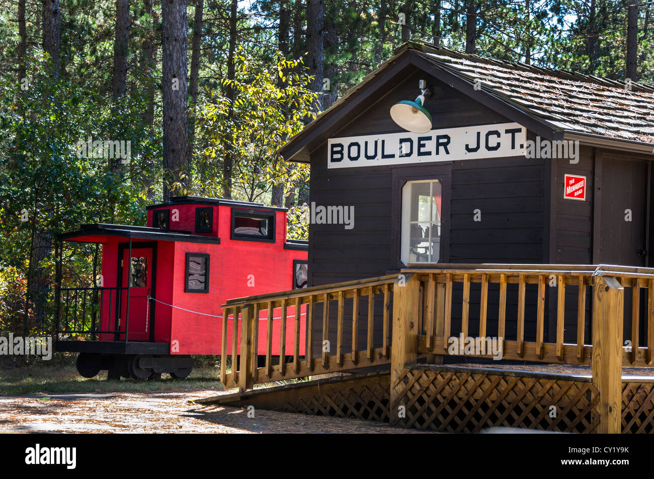 The Boulder Junction Museum in the Northwoods town of Boulder Junction, Wisconsin - Stock Image