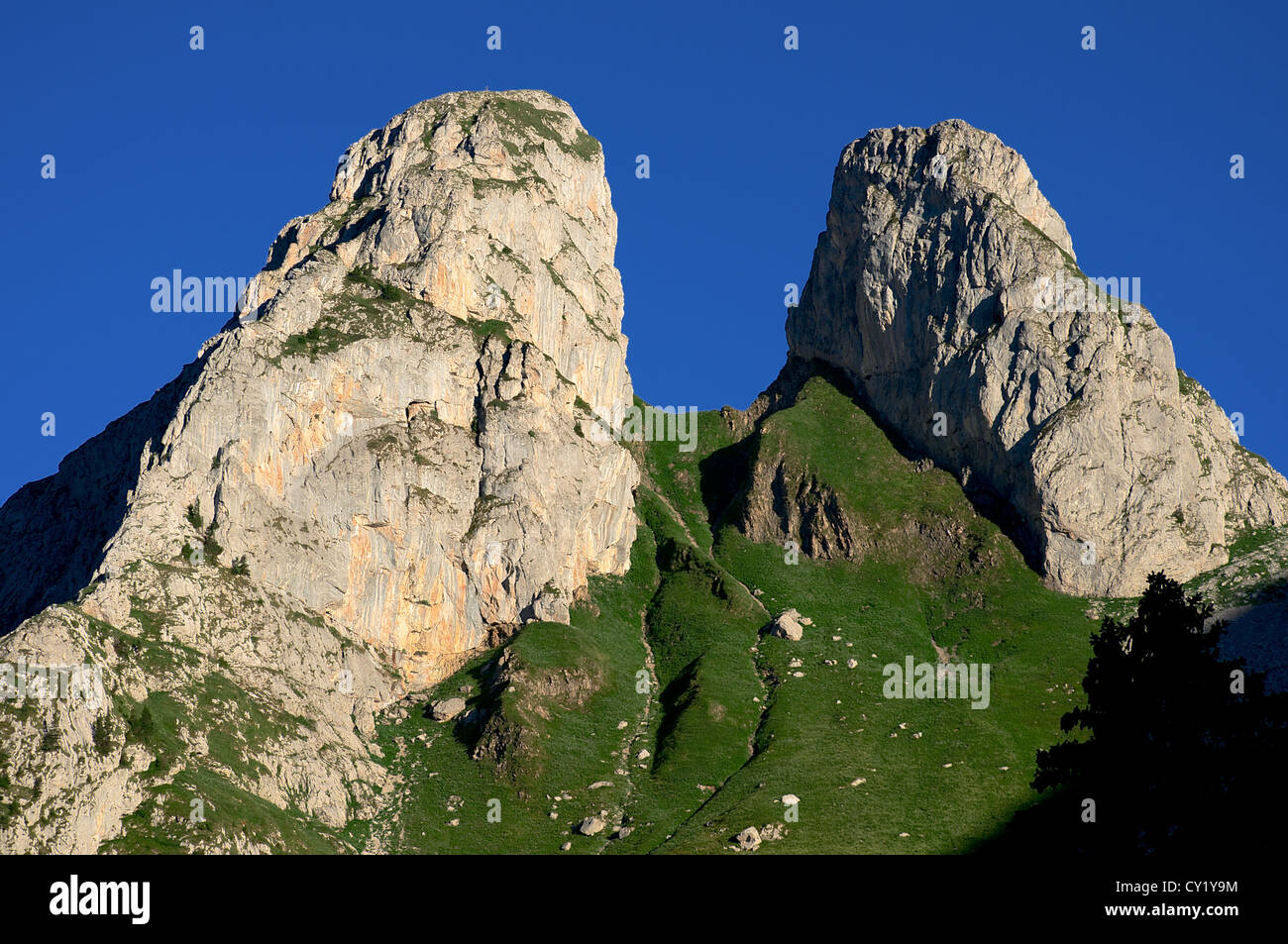Les Jumelles (The Twins) summits in the Swiss Alps - Stock Image