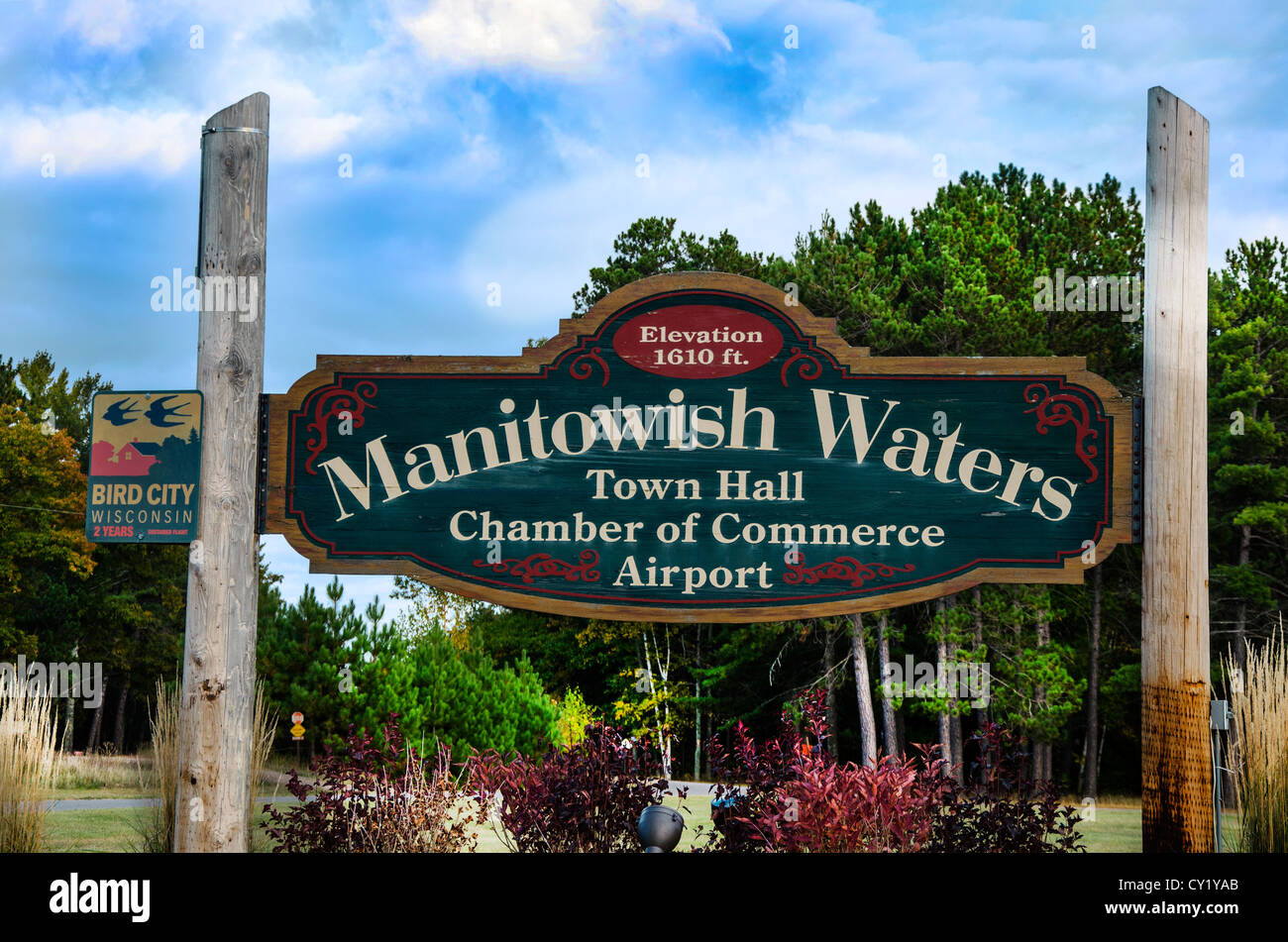 Welcome Sign for Manitowish Waters in the Northwoods of Wisconsin - Stock Image