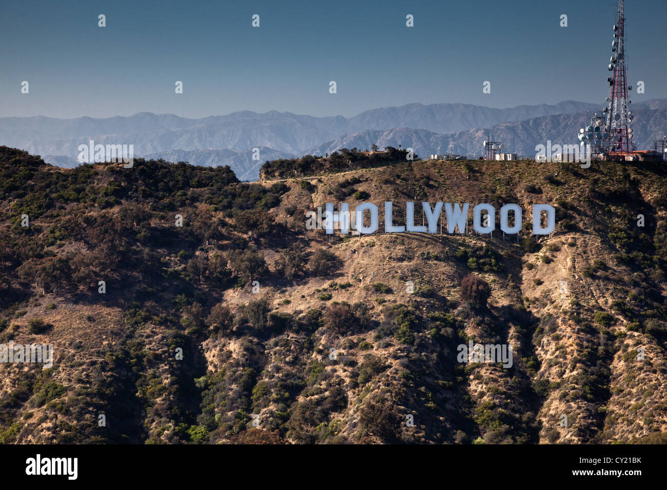 The iconic Hollywood sign in the Hollywood HIlls, Los Angeles. - Stock Image