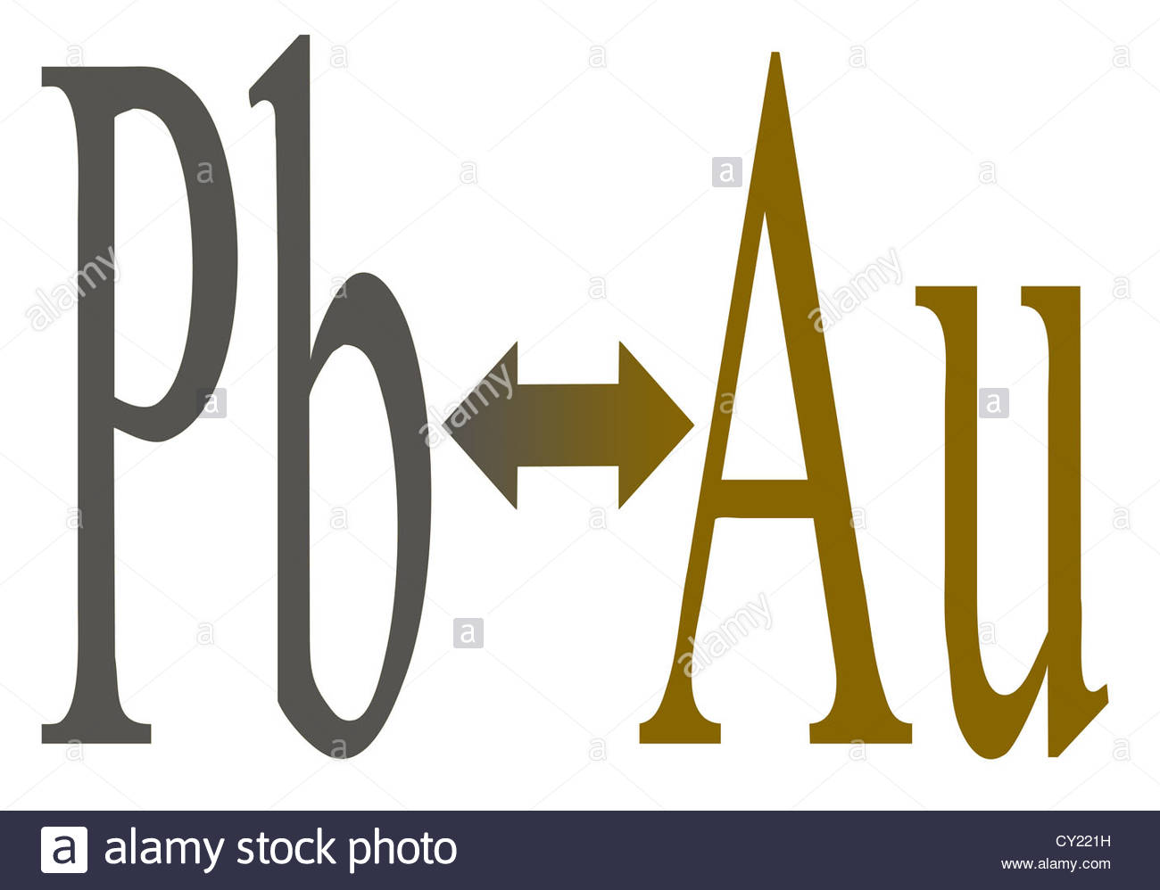 Alchemy - Turning base metals (lead) into Gold - Stock Image