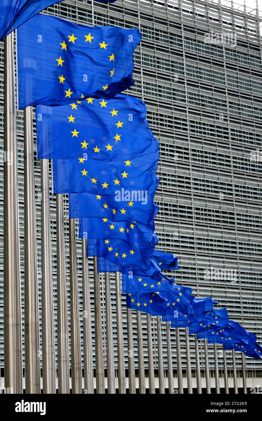 European Union flags outside European Commission building at Berlaymont in Brussels, Belgium - Stock Image