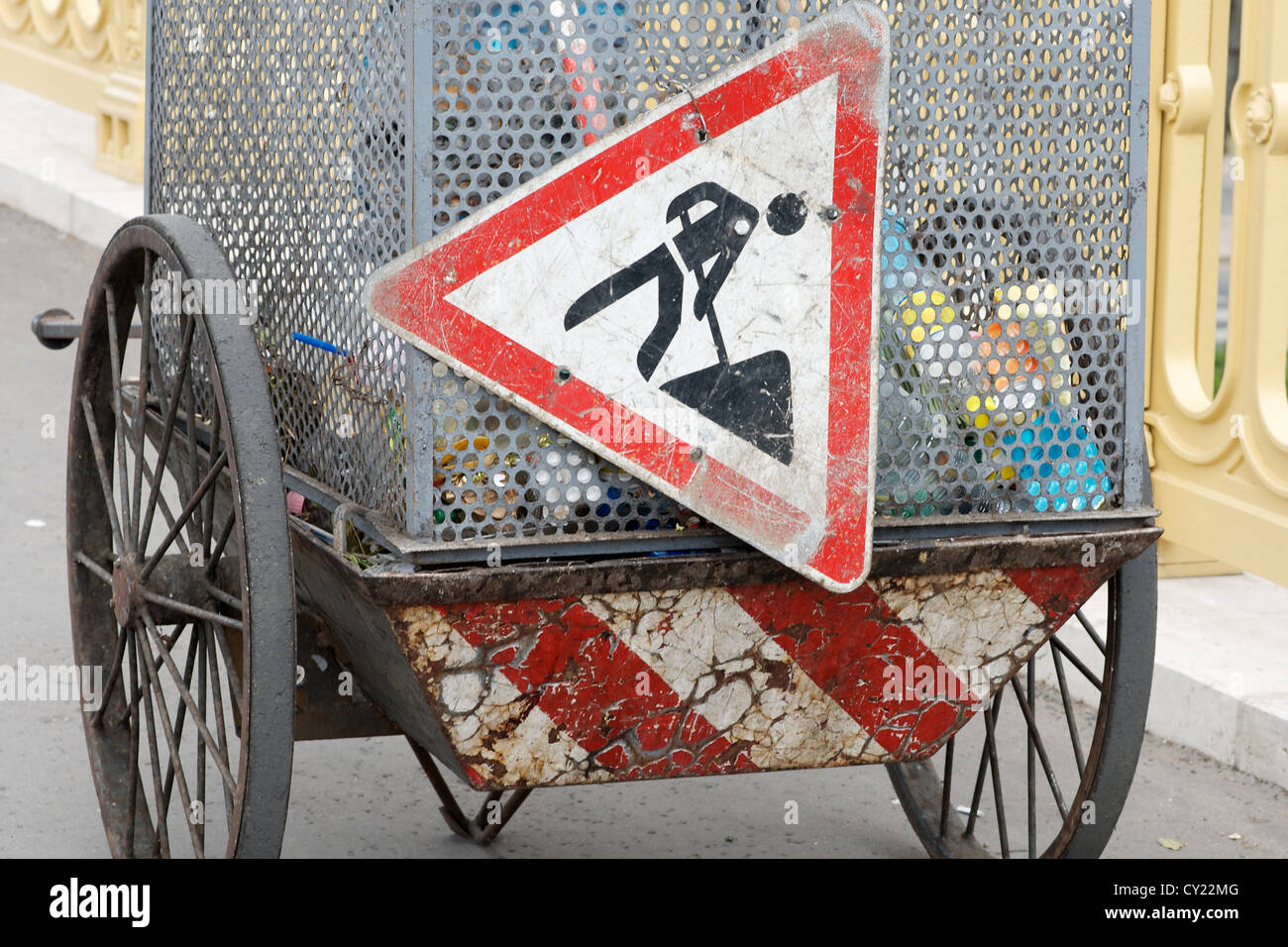 Cleaning cart full of rubbish cleaned from the streets in Budapest, Hungary Stock Photo