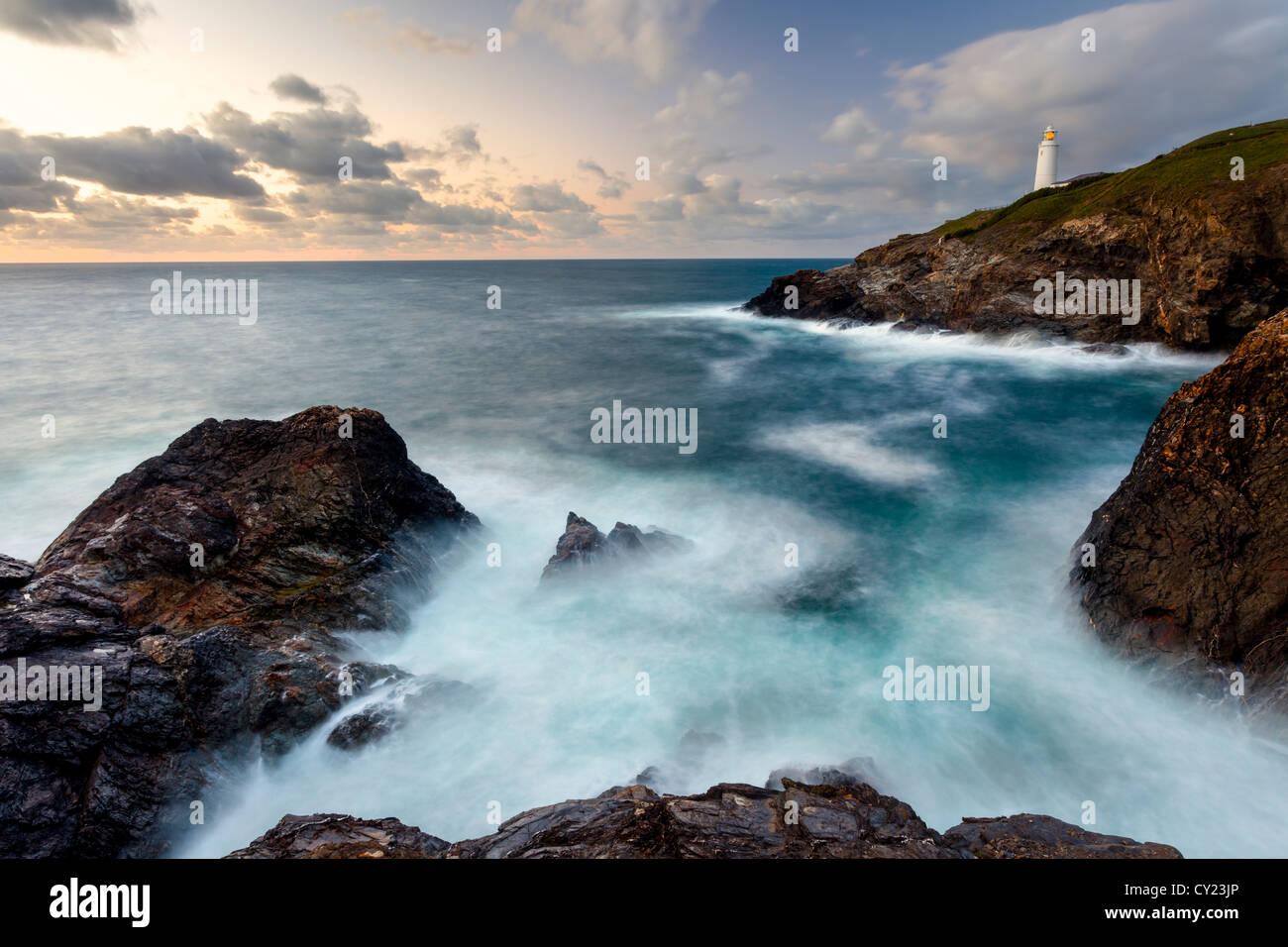 Views across Stinking Cove to Trevose Head from Dinas Head North Cornwall England UK - Stock Image