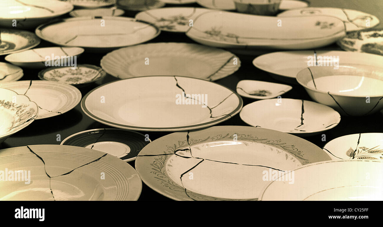 Fractured ceramic plates smashed and glued displayed on a large quantity vintage style photography & Fractured ceramic plates smashed and glued displayed on a large ...