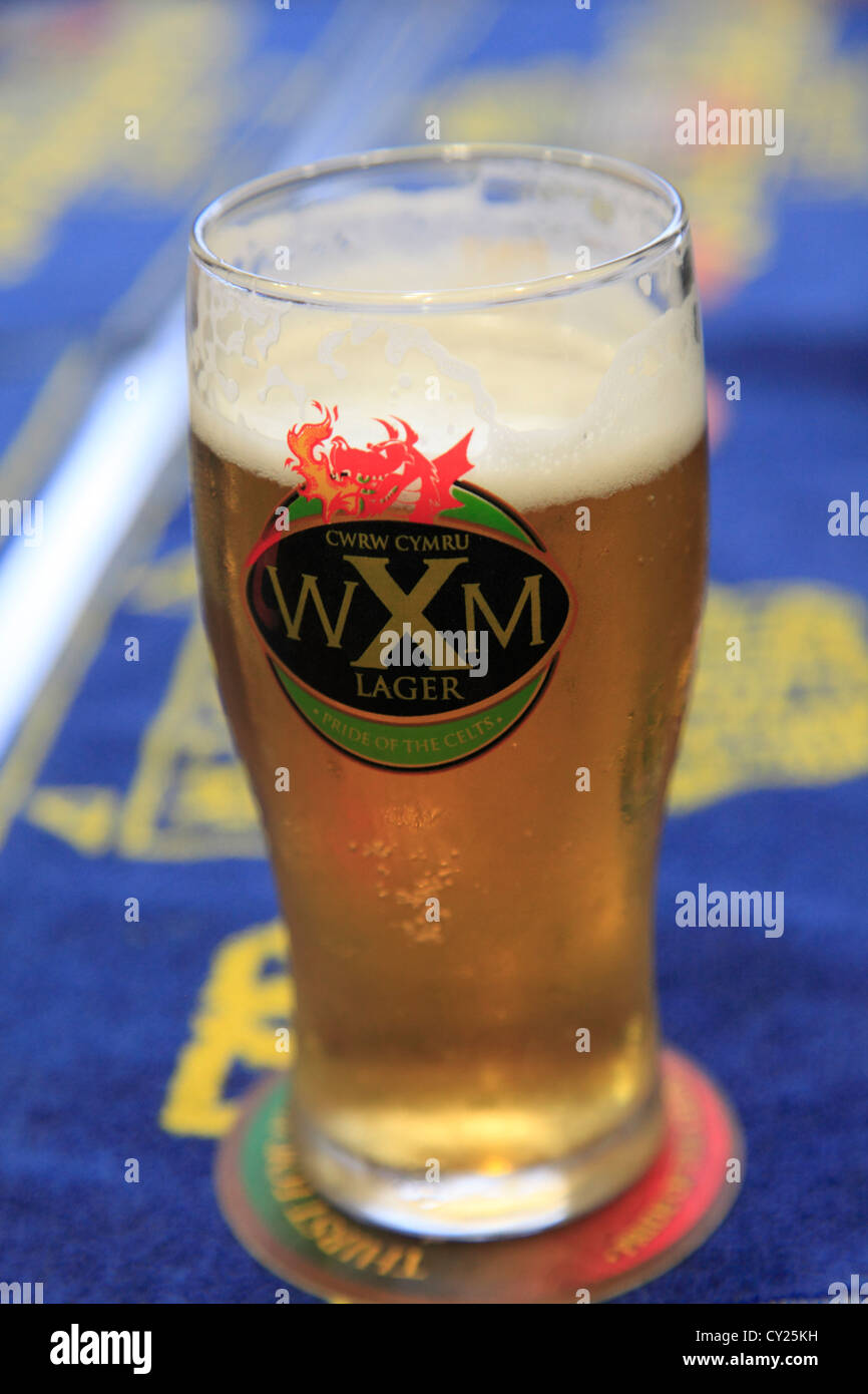 Pint of Wrexham Lager, Wrexham, Clwyd, North Wales, UK - Stock Image