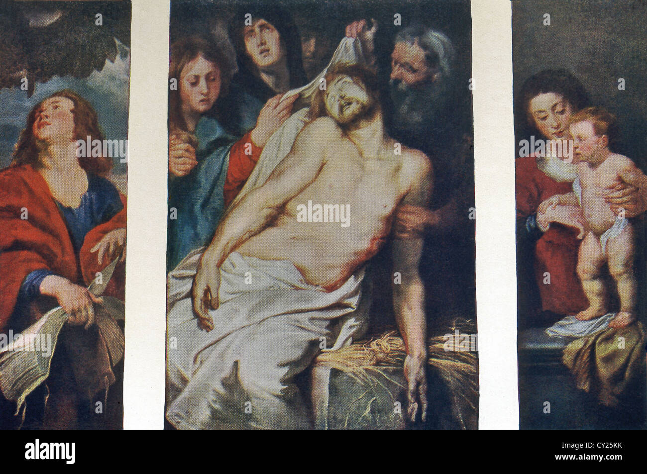 This triptych, titled Christ a La Paille,was painting in 1617-18 by Peter Paul Rubens for tomb of an Antwerp merchant. - Stock Image