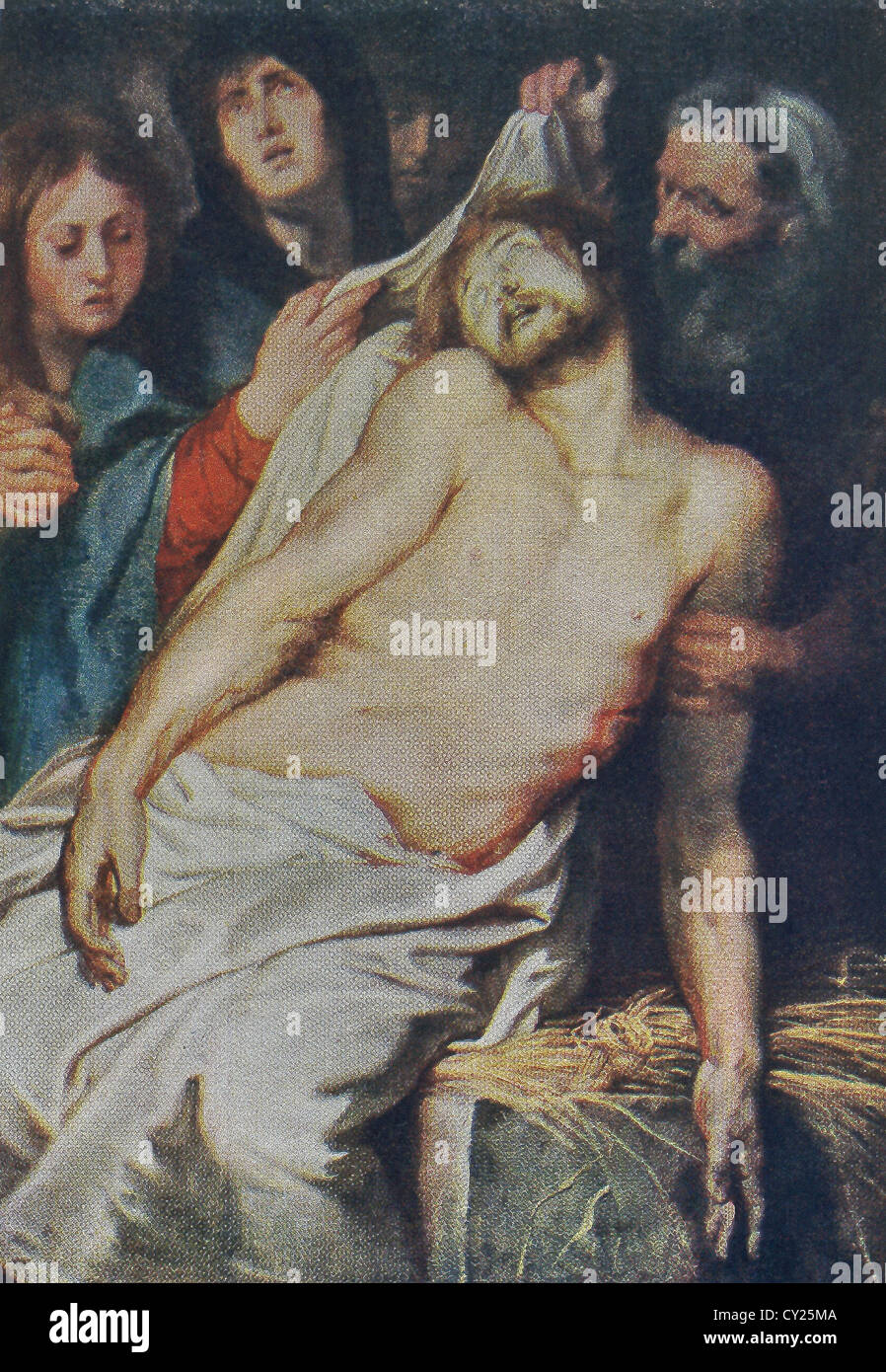 This painting is the central panel of a triptych titled Christ a La Paille by Peter Paul Rubens for tomb of an Antwerp - Stock Image