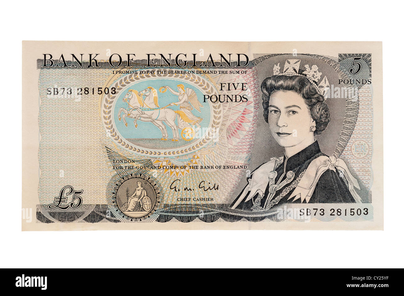 An old style five pound note ( english currency ) on a white background - Stock Image