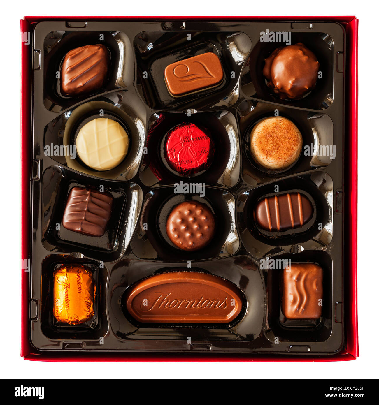 A box of Thorntons classic collection chocolates on a white background - Stock Image