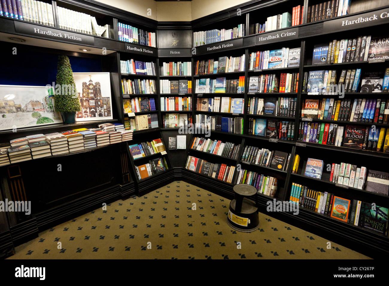 Bookstore interior, London, England, UK - Stock Image