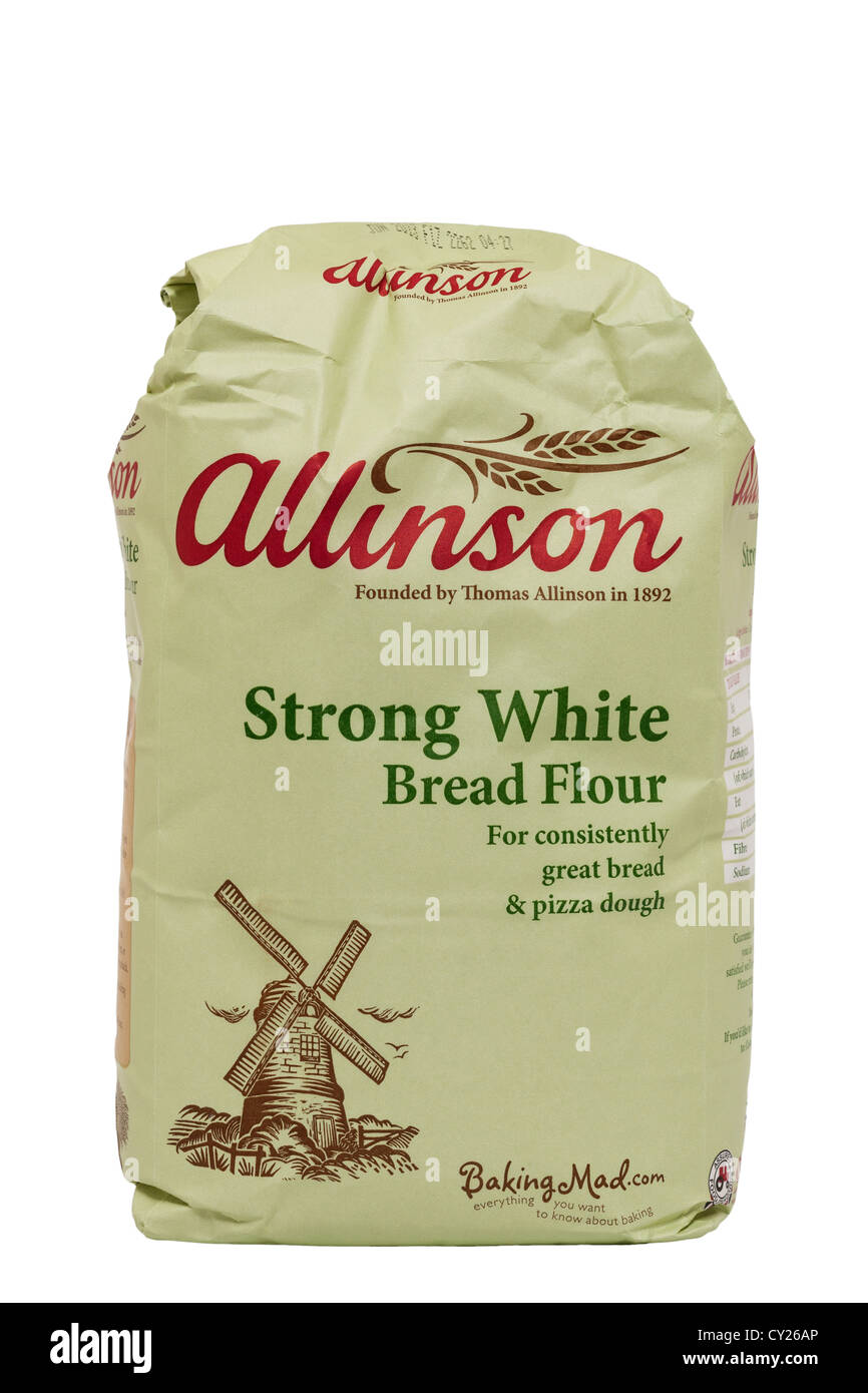 A bag of allinson strong white bread flour on a white background - Stock Image