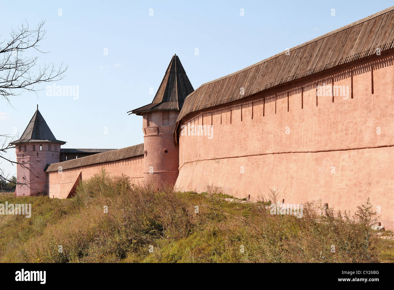 Wall of Monastery of Saint Euthymius in Suzdal, Russia - Stock Image