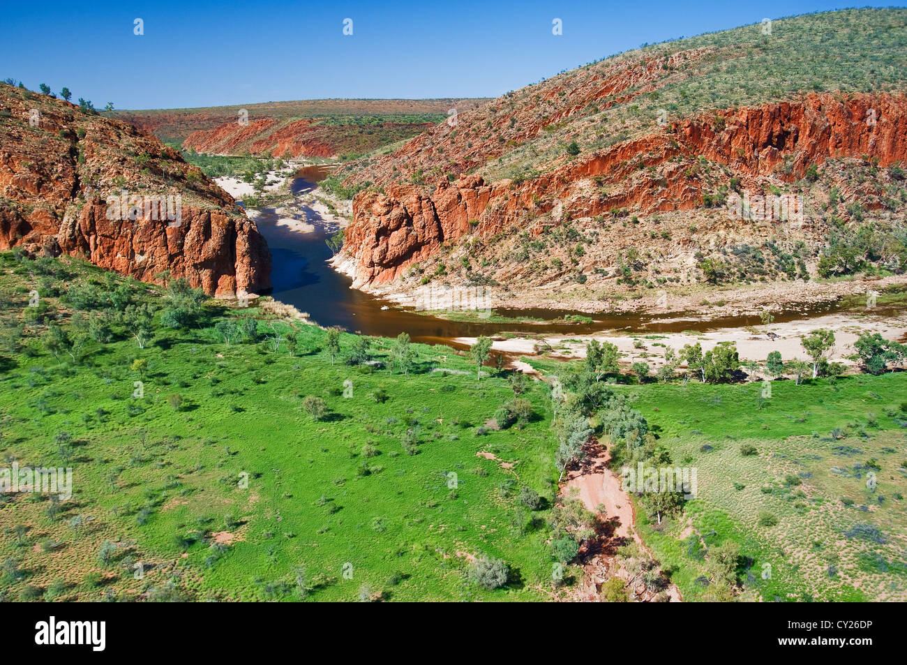 Aerial of Glen Helen Gorge gap. - Stock Image