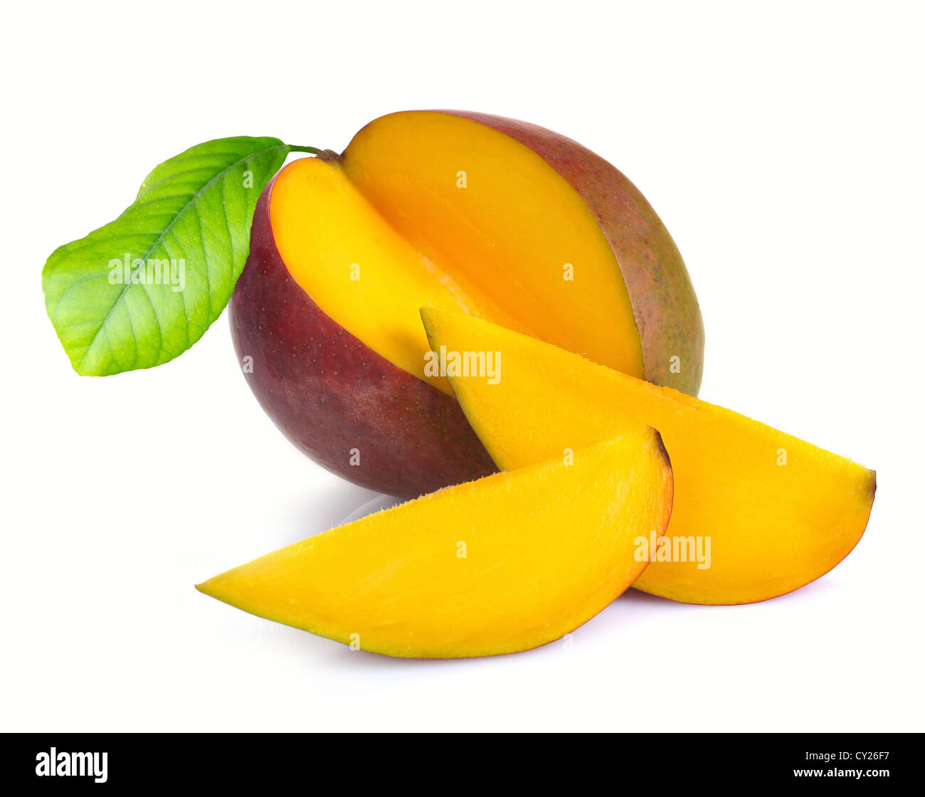 Mango with section on a white background - Stock Image