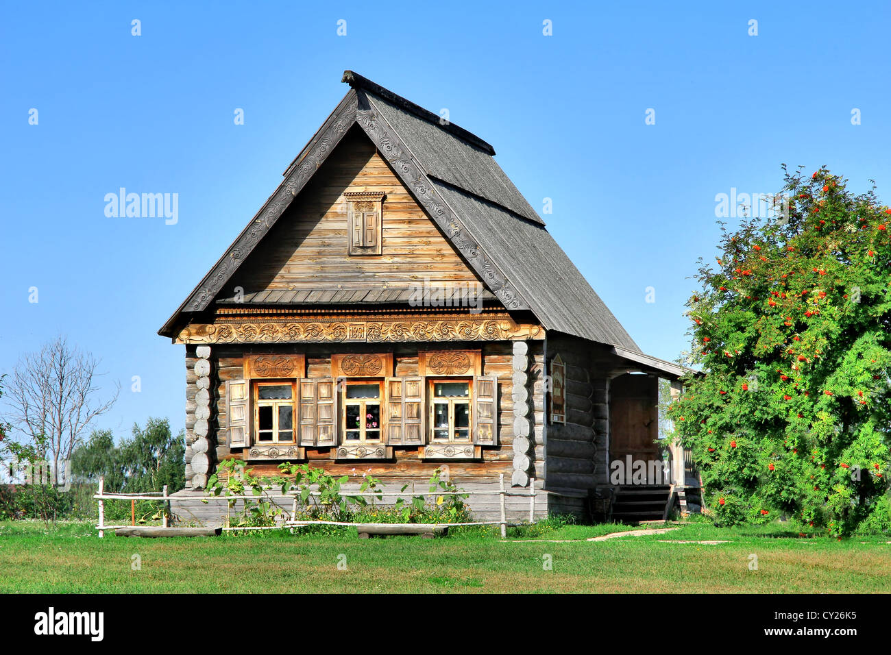 Russian national wooden house izba - Stock Image