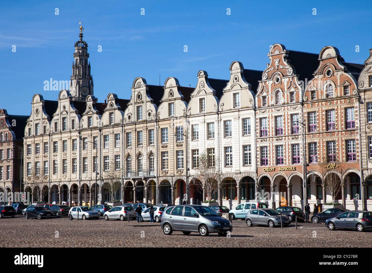 Flemish baroque building facades, Arras Nord Pas de Calais, France - Stock Image