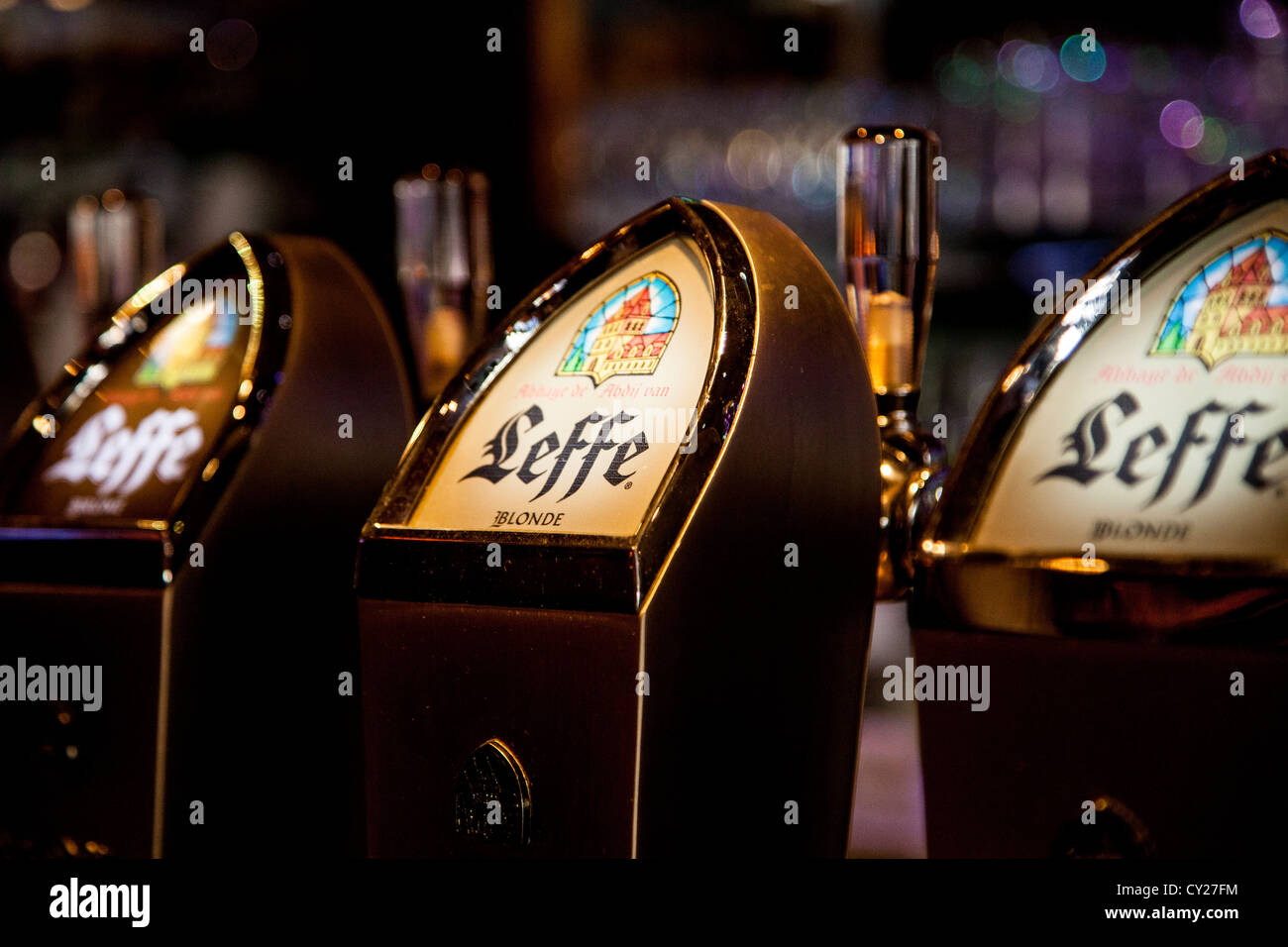 Leffe beer taps dispensers in a French bar - Stock Image
