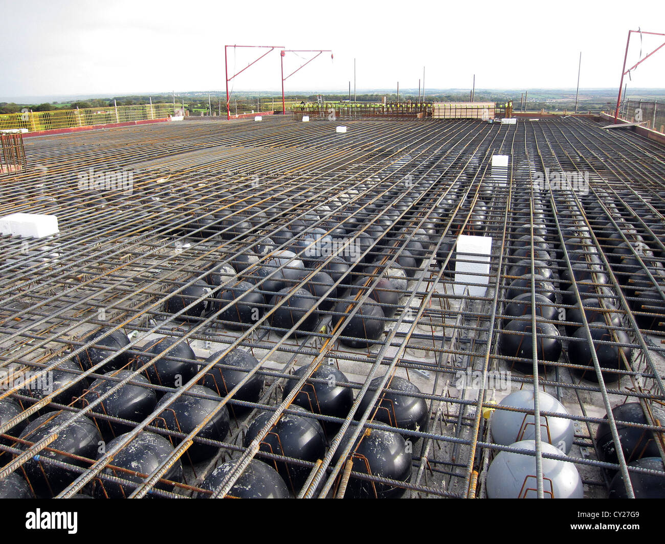 Construction Of A Concrete Slab Using Light Weight Balls   Stock Image