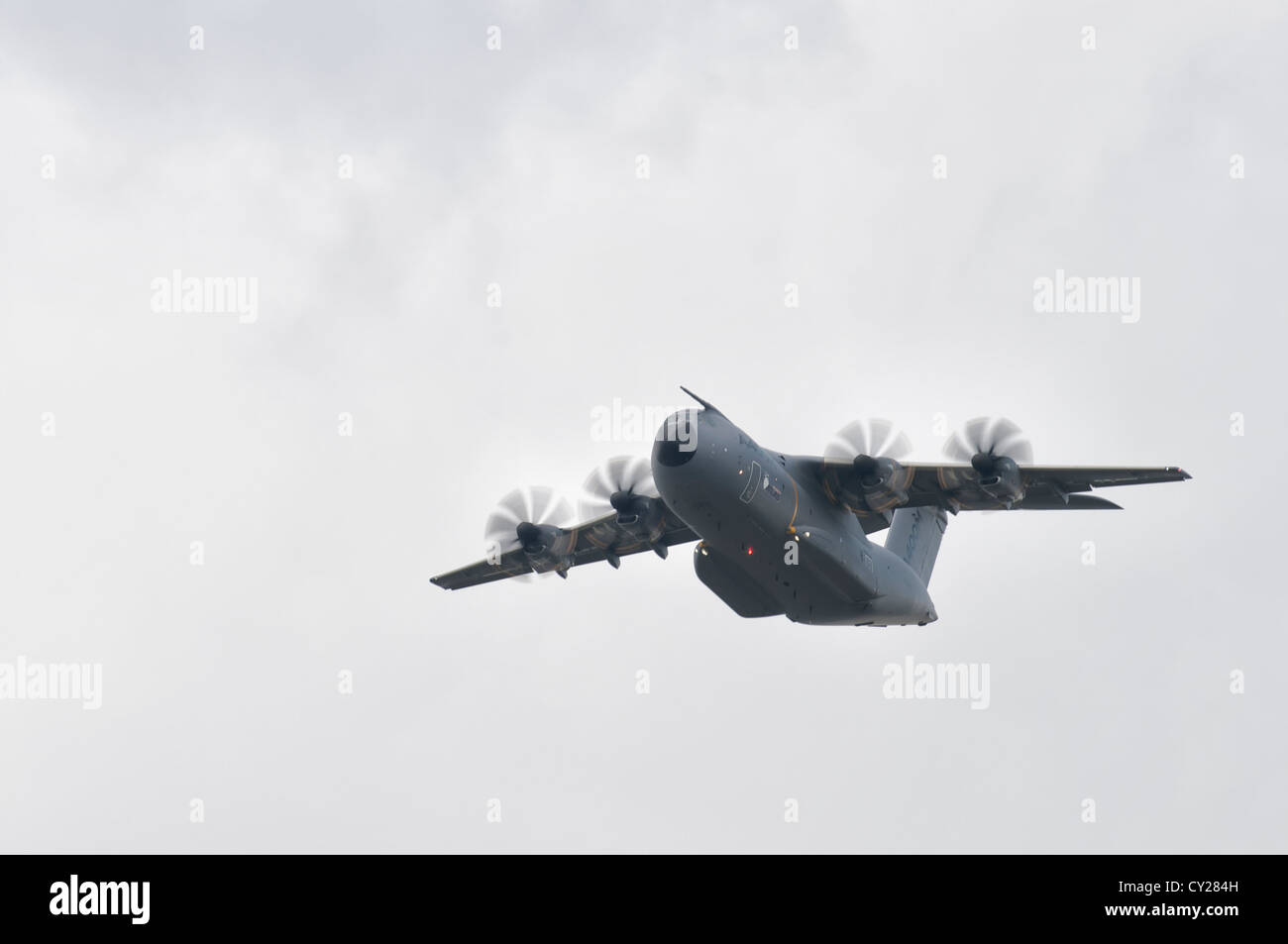 Airbus A400M Atlas turboprop military transport aircraft F-WWMZ from Airbus Military, Toulouse Airport France, displays - Stock Photo