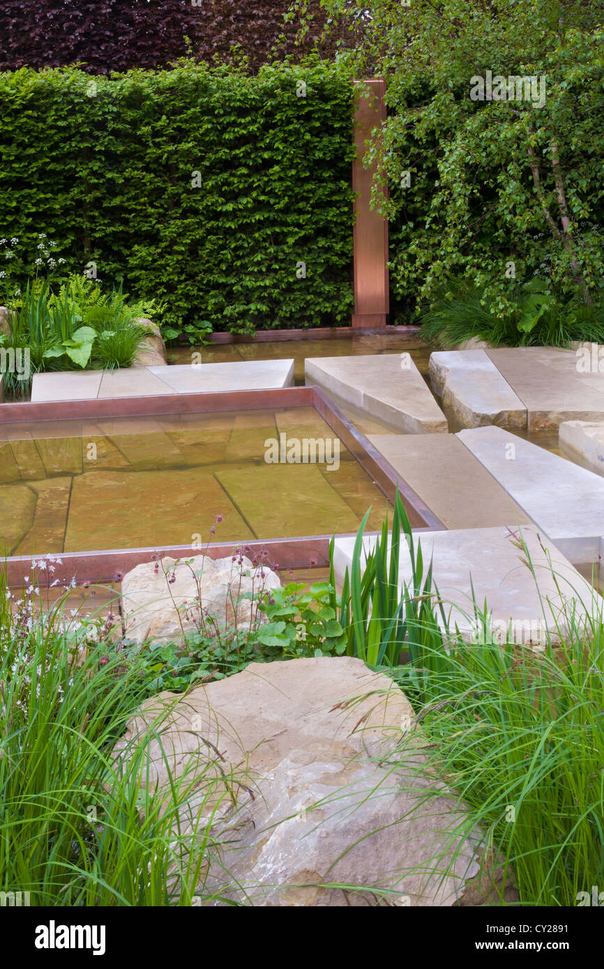 View of the contemporary garden the telegraph garden chelsea flower show 2012 stepping stones and large boulders design sarah