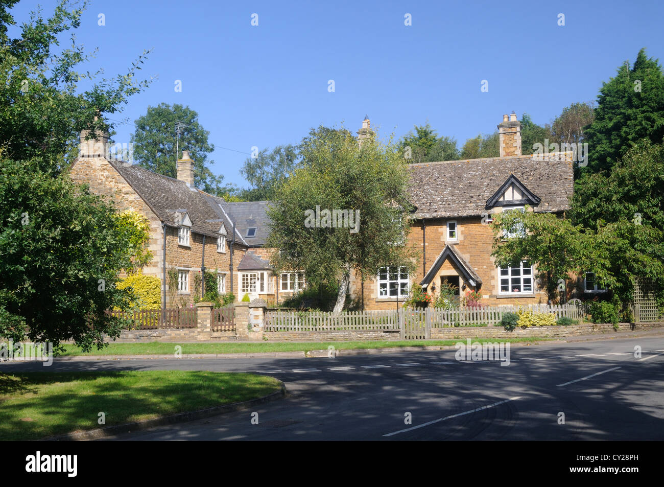 Cottages in the centre of Braunston-in-Rutland, Rutland, England - Stock Image