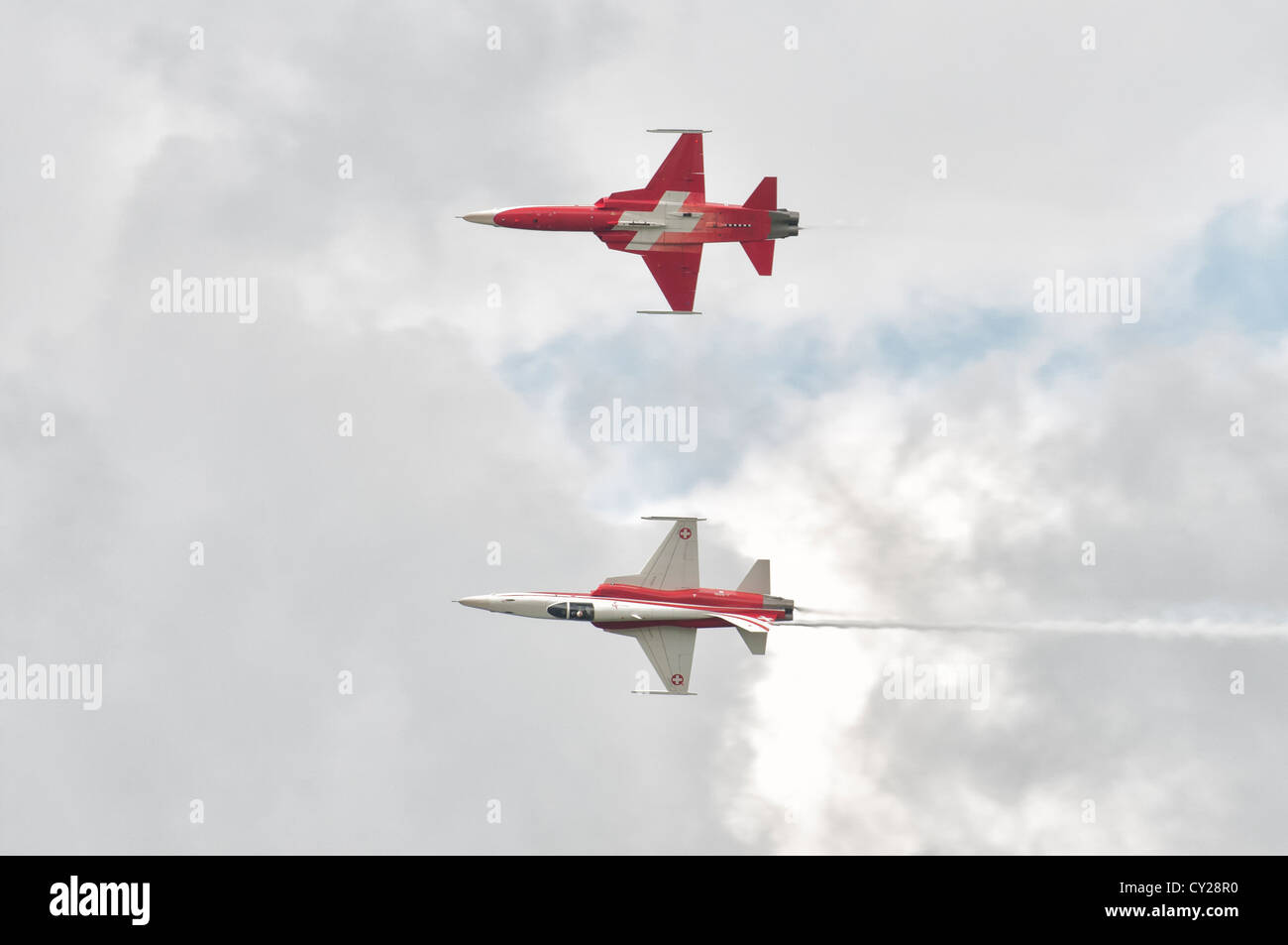 The Patrouille Suisse Display Aerobatic  Display Team in their Northrop F-5E Tiger II's display at the 2012 - Stock Image