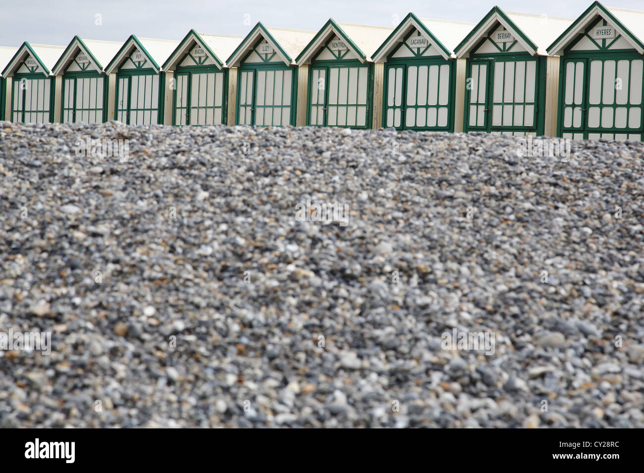 Beach Huts, Cayeux-sur-Mer, Picardie, France Stock Photo