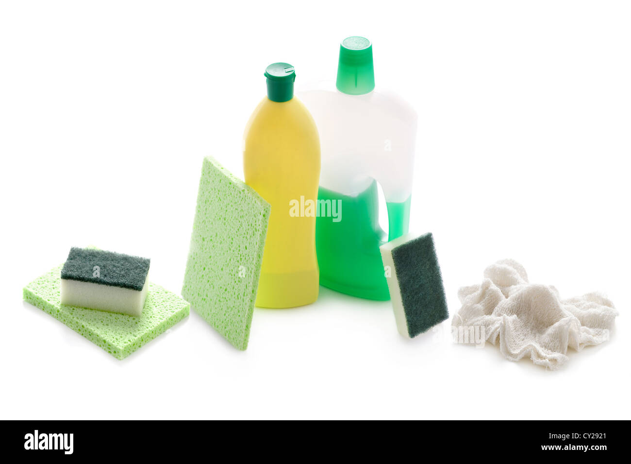 Kitchen Or Bathroom Cleaning Products And Supplies Isolated On A White  Background