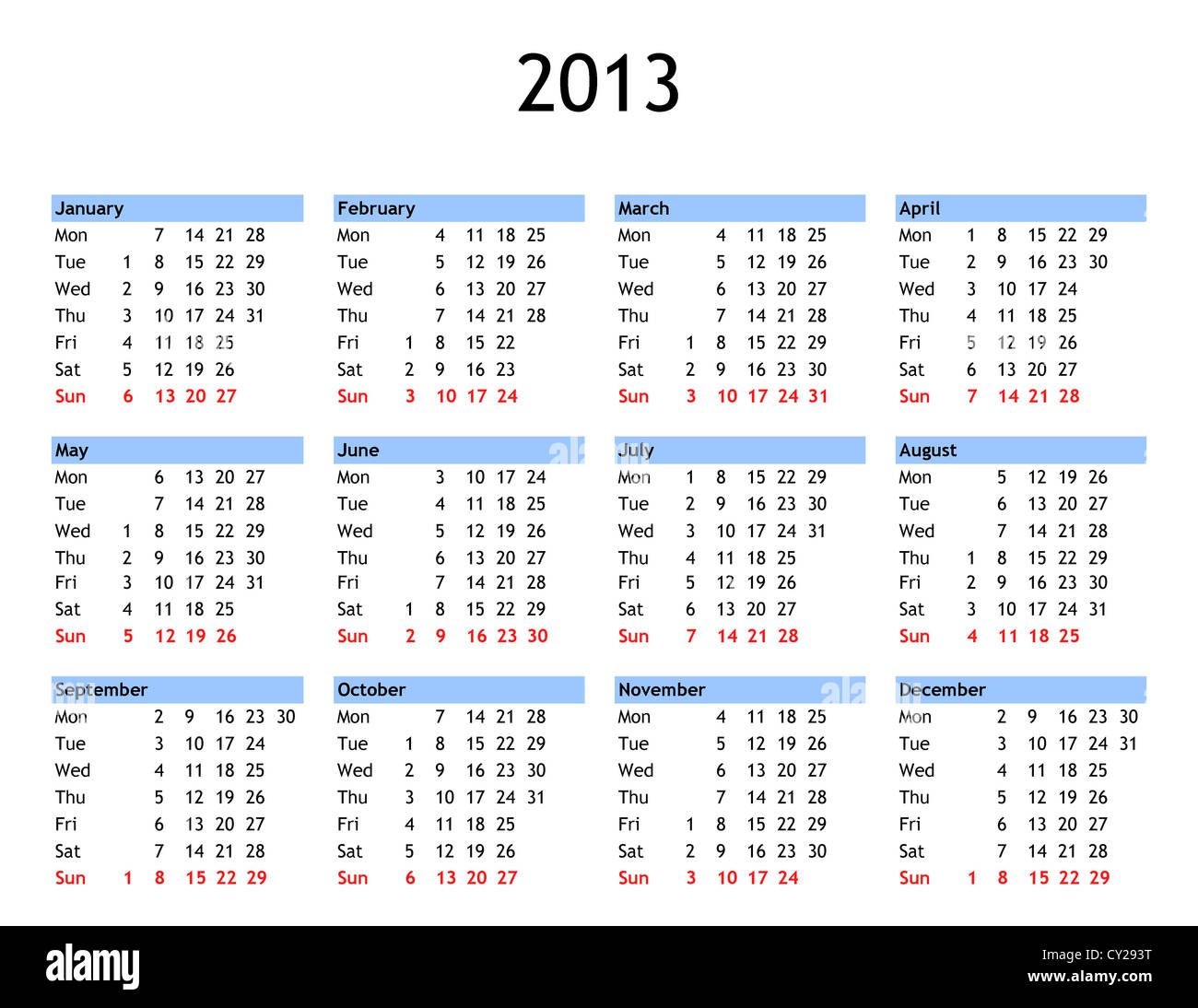 single page year 2013 calendar stock photo 51067516 alamy