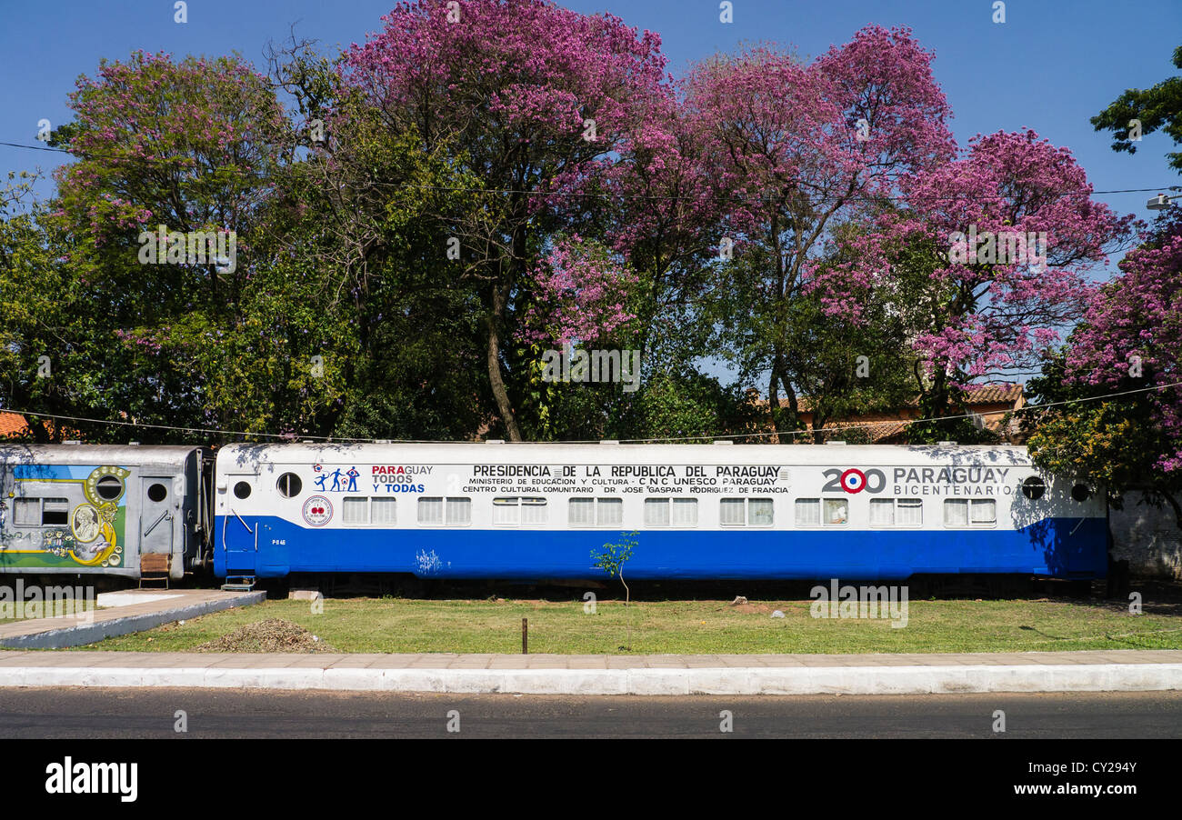 A special train car decorated to celebrate Paraguay's bicentennial in 2011 sits in a park near the central Asunción. - Stock Image